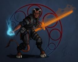 Tiefling Kensai Fiend Flayer Magus by borkweb