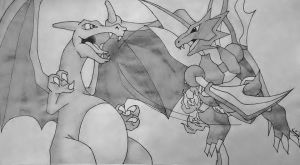Charizard vs Scyther by RensaRaion