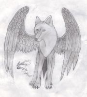 Wolf With Wings by ArtistGreyGhost