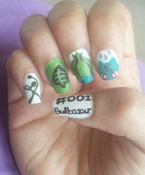 No. 001 Bulbasaur Nail Art by DyeritsoJazzy