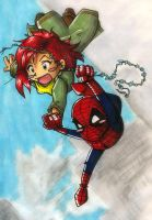 Spidey Loves MJ Web Swing by ellensama