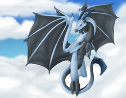 The Blue dragon in the skies by Nakubi