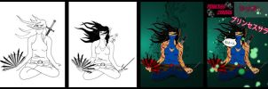 Steps I took to illustrate/color Princess zekara by writethedevil