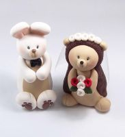 White Rabbit and Hedgehog Wedding Cake Topper by HeartshapedCreations