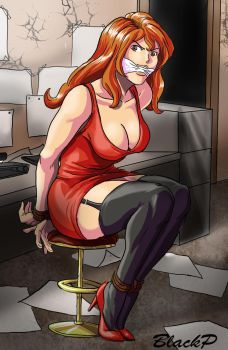 Fujiko in the office by BlackProf