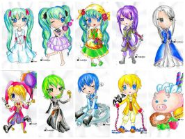 Evillious Chibis Watercolor by Hoshi-Wolfgang-Hime