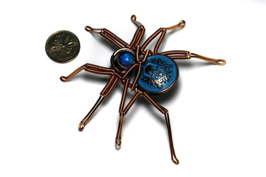 Steampunk Blue Skull Copper Spider by CatherinetteRings