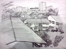 Ball point pen landscape of home by Moonbei