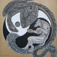 Yin Yang Dragon Wolf by chalkdragon