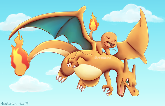 Charizard Charmander by sapphireluna