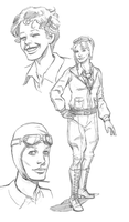 Amelia Earhart sketches by mistermuck