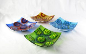 Fused Glass Virus dishes by trilobiteglassworks
