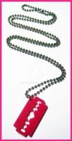 Hot Pink Razor Necklace by cherryboop