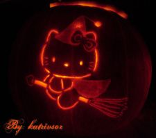 Hello Kitty Halloween Pumpkin by katrivsor