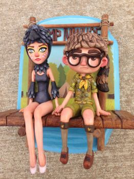 Suzy and Sam piece from Moonrise Kingdom close up by Kahiah