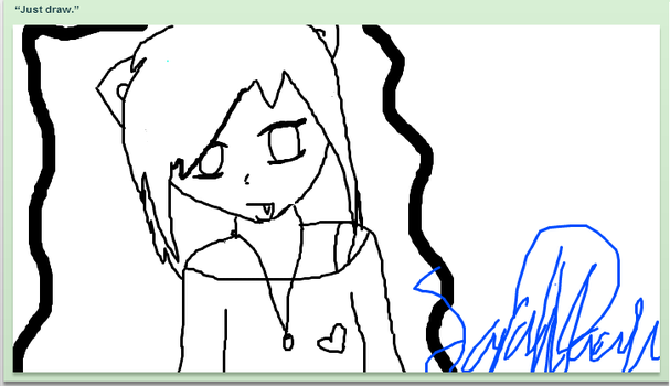 Uncolored anime girl on iscribble by That-random-girl01