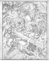 Pencils for Udon's MARVEL VS. CAPCOM illo by AdamWarren