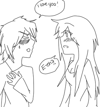 He's not good with confessions- Line art by Deidara45