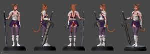 Mithra / Miqo'te Sculpt Color Turnarounds by Myselfsama