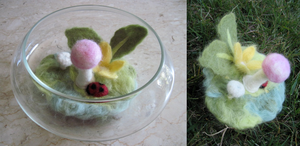 Felted Flowers and mushrooms by Ferngirl