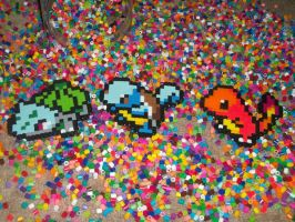 kanto starters perler beads by ScreamEmotion