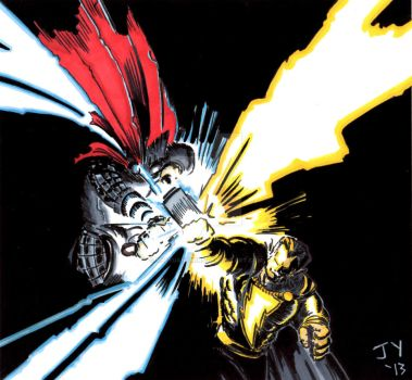 Thor vs Black Adam Colored by John Yuan by TheYuanTwins