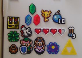 Hama Beads - zelda magnets by acidezabs