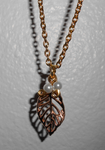 Gold Leaf Necklace (White Pearl Variant) by kadajs-kitsune