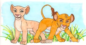 Nala and Simba in Copics by everythingerika