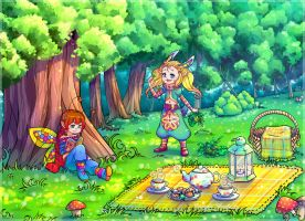 Fairy and Bunny on a picnic by KazeAi7