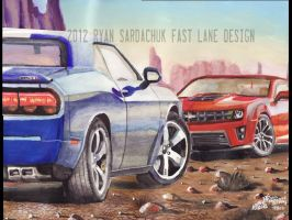 The Face Off (Modern Muscle Car Painting) by FastLaneIllustration