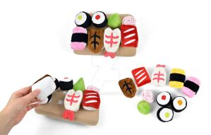 Mini Sushi Plushies and Wooden Tray by SewDesuNe