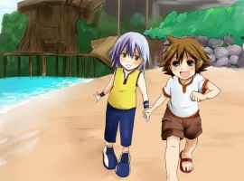 KH: Sora y Riku - kids by mixy-shiru