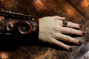 Steampunk Chrysolite Ring by CatherinetteRings