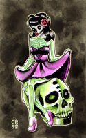 Pinup Ghouls Series- Skeleton by misscarissarose