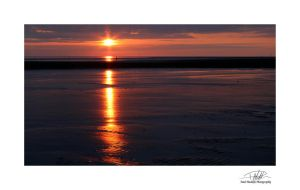 Crosby Beach Sunset - With border and sig by Paul-Madden