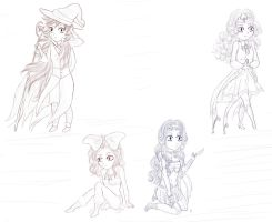 Happy Tree Fantasy: Girls - Sketch [chibi] by Inexpressif