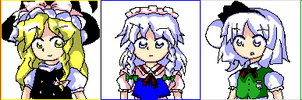 PC-98 Touhou Heroines by LuckyHaruAnimu-Squig