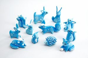 Christmas snow animals by Ailinn-Lein