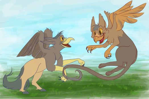 Gryphons at play by syclopskitten