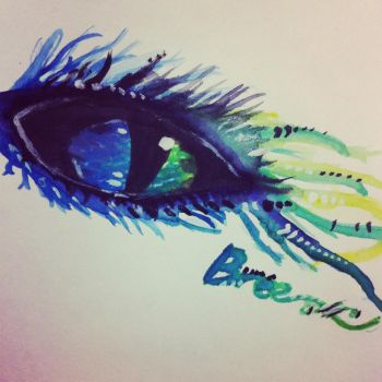 Watercolor Eye In Blues and Greens by Rivereyes123