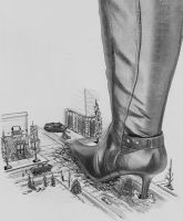 Giantess boot Goddess by weirdraws