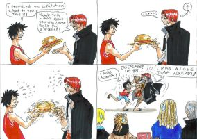 one piece, shanks and luffy by heivais