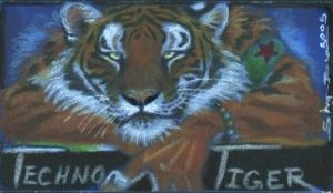 Techno Tiger Badge by ebonytigress