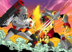 TFA Megatron vs. Grimlock by iq40