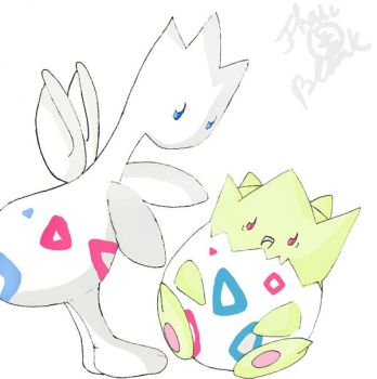 Togepi and togetic by jhaicblank