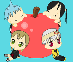 Soul Eater Chibies with giant apple by Puffypaw