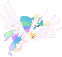 Princess Celestia - Flying in Distress by CaliAzian