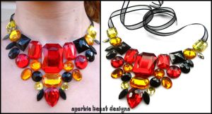 Black Red and Yellow Gems by Natalie526