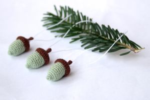 Holiday Ornaments Mint Green Crocheted Acorns by SkySinger92